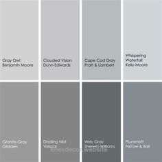 8 enticing grays for the kitchen: Carriage House by Mythic Paint Horizon Gray by Benjamin Moore Rhino by Behr Online by Sherwin-Williams Lava Gray by Pittsburgh Paints Seal Grey by Glidden Trout by Pratt & Lambert Martini Shaker by Kelly-Moore by tracey Room Colors, House Colors, Grey Colors, Paint Colours, Orange Color, Light Orange, Valspar Grey Paint Colors, Shades Of Gray Color, Light Grey Paint Colors