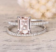 2 Carat emerald cut Morganite and Diamond Wedding Bridal Ring Set On White Gold with Engagement Ring and Matching Diamond Wedding Band - Handmade Pink Wedding Rings, Custom Wedding Rings, Wedding Jewelry, Wedding Bands, Wedding White, Weding Ring, Gold Jewelry, Dainty Jewelry, Modern Jewelry