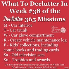 What to declutter in week #38 of the Declutter 365 missions {get a free printable Declutter 365 calendar for a whole year of missions on Home Storage Solutions 101!} Car Storage, Storage Organization, Vehicle Maintenance Log, Car Organizers, Clutter Control, Home Storage Solutions, Clutter Free Home, Feeling Overwhelmed, Decluttering