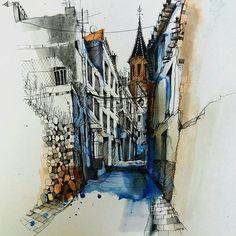 Narrow Street #orgiva #sketch #draw #drawing #pensketch #line #artdaily #art #dailypic #dailyart #picoftheday #spain #street #church #hashtags #creative