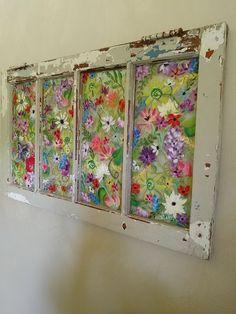 Old painted windowwindow pane artfloral painted Antique Windows, Vintage Windows, Old Windows, Decorative Windows, Green Windows, Vintage Doors, Antique Doors, Window Pane Art, Window Frames