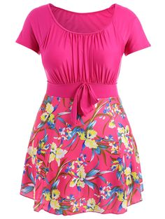 Plus Size Ruched Floral Skirted Swimsuit in Rose Madder | Sammydress.com