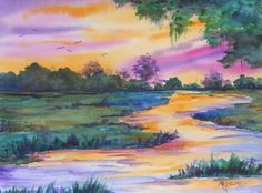 LOW COUNTRY SUNSET by watercolor artist Martha Kisling