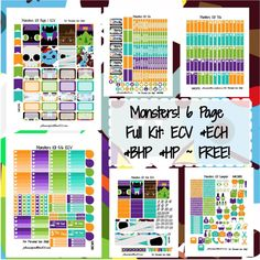Monsters KIT! | Free Printable Planner Stickers
