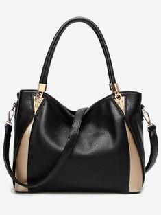 PU Leather Color Blocking Shoulder Bag - Black