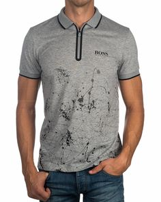 Polos Hugo Boss ® Hombre Prek Pro ✶ Gris | ENVIO GRATIS Polo T Shirts, Boys Shirts, Cool Shirt Designs, Pique Shirt, Polo Outfit, Hugo Boss, Cycling Outfit, Men Looks, Mens Tees