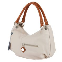 ARCADIA Light Beige Leather Hobo Bag