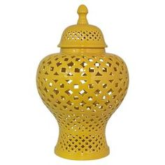 "Add a pop of color to your entryway console table or master suite vanity with this ceramic jar, showcasing an openwork design and a yellow finish.  Product: JarConstruction Material: CeramicColor: YellowFeatures: Openwork designDimensions: 19"" H x 12.5"" Diameter"