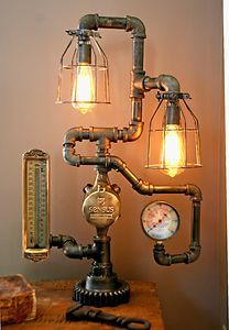 Steampunk Lamp Light Industrial Art Machine Age Salvage Steam Gauge Thermometer | eBay
