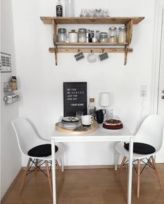 Dining Room Ideas: Furnishings & Design- Esszimmer Ideen: Einrichten & Gestalten small dining area in the kitchen with two seats – perfect for a small kitchen with little space. Modern black and white with practical kitchen shelf for storage - Interior Design Kitchen, Kitchen Decor, Room Kitchen, Kitchen Dining, Small Dining Area, Home Kitchens, Home Furnishings, Room Decor, Decoration