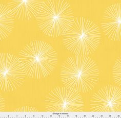 Mod Fabric - Dandelions - Yellow By Friztin - Yellow and White Mod Home Decor Floral Cotton Fabric By The Yard With Spoonflower