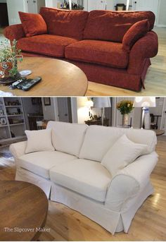 Before and after: custom sofa slipcover in 12 oz. natural denim from Big Duck Canvas.