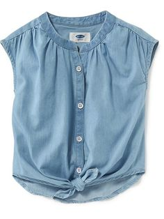Tie-Front Chambray Top for Baby Product Image Cute Little Girls Outfits, Toddler Girl Outfits, Toddler Fashion, Kids Outfits, Kids Fashion, Frocks For Girls, Dresses Kids Girl, Chambray Top, Denim Top