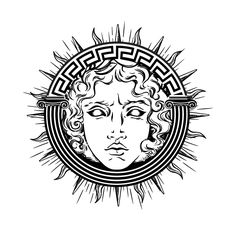 Medusa Gorgon head on a shield hand drawn line art and dot work tattoo or print design isolated vector illustration. Gorgoneion is a protective amulet Mini Tattoos, Black Tattoos, Body Art Tattoos, Small Tattoos, Tattoo Sketches, Tattoo Drawings, Art Sketches, Tatto Ink, Tatoo Art