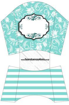 Envelope Fritas  Azul Tiffany Floral e Listras:
