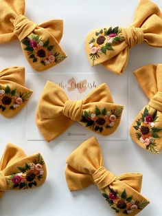 Diy Embroidery Patterns, Flower Embroidery Designs, Floral Embroidery, Hand Embroidery, Arco Floral, Diy Clothes Design, Color Secundario, Diy Bow, Diy Headband