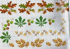 various cross-stitch borders of the forest with acorns