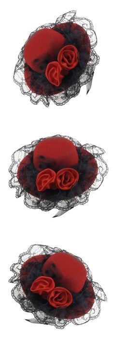 YOST-Ladies Red Double Flowers Hat Shaped Alligator Hair Clip
