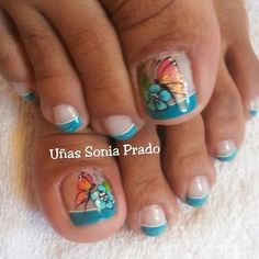 NAILS Pedicure Designs, Pedicure Nail Art, Toe Nail Designs, Toe Nail Art, French Pedicure, Fingernail Designs, Love Nails, Pretty Nails, My Nails