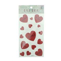 Tatouage autocollant Love cœur rouge