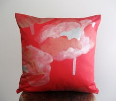 P. Red Marimekko Pillow Cover with Gold and Silver Flowers - 18x18 in. $32.00, via Etsy.
