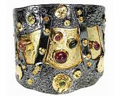 Sterling silver gemstones cuff bracelet - statement bracelet made in Greece