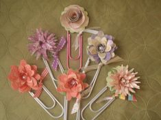 Paper Flower Bookmarks on extra large paper clips!
