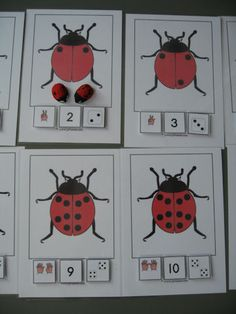Insecten kringactiviteiten » Juf Sanne Numicon, Subitizing, Numeracy Activities, Learning Numbers, Eyfs, Girl Scouts, Ladybug, Crafts For Kids, Holiday Decor