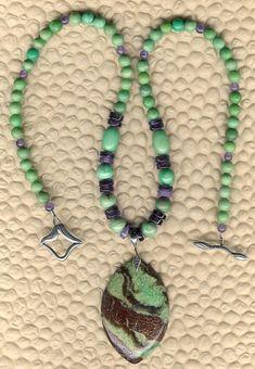 High Prase - Chrysoprase Pendant Variscite Amethyst Sterling Silver Necklace February Birthstone Valentine Gift
