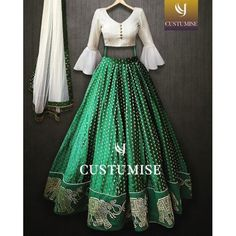 )nline Shopping of White and green Croptop lehenga Choli From Mongoosekart, Huge Collection of Latest Lehenga Designs Available here Indian Fashion Dresses, Indian Bridal Outfits, Indian Gowns Dresses, Dress Indian Style, Indian Designer Outfits, Bollywood Lehenga, Indian Lehenga, Green Lehenga, Bollywood Fashion