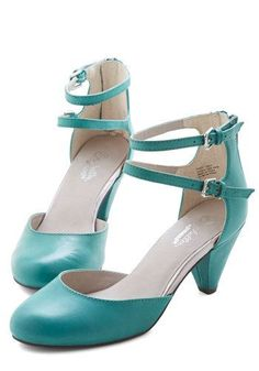 Marvel Heel in Jade. Were all about the double ankle straps and tapered heels of these jade-green leather shoes by Seychelles. #green #prom #wedding #modcloth