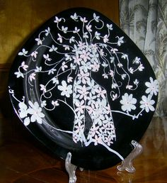 """Decorative Wall Plate """"Flora"""" made of polymer clay Interior decoration"""