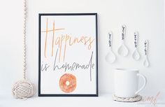 Kitchen Watercolor Happiness is Homemade by CMFprintdesigns