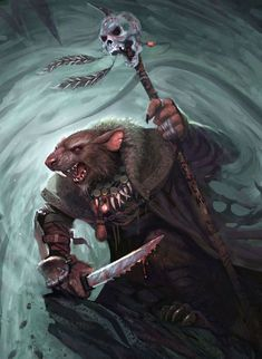 Rat blood shaman, Redwall style #fantasy inspiration  Skaven by Simon Buckroyd