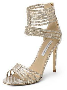 Diane von Furstenberg Ursula Metallic Strappy Heel on shopstyle.com