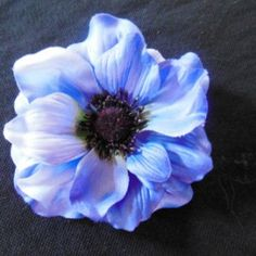 Blue Anemone Flower on Velvet Rose's Pin Up Dressing Room - The vintage shop tailored to you #PinUpHairFlower #StockingStuffer Free Postage within Australia