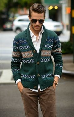 Shop this look for $375:  http://lookastic.com/men/looks/green-cardigan-and-white-longsleeve-shirt-and-brown-chinos/134  — Green Fair Isle Cardigan  — White Longsleeve Shirt  — Brown Chinos