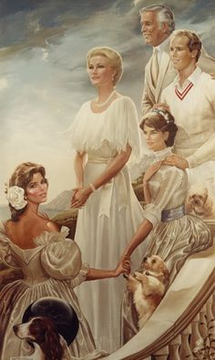 """In 1981, Ralph Cowan was invited back by H.S.H. Princess Grace to paint this 84"""" x 48"""" masterpeice of her entire family which hangs in the Throne Room.Those who have taken the palace tour have seen this great painting. Cowan painted it while living in the palace. Cowan remembers browsing the streets of the old village with Grace.  They would always leave from the side entrance of the palace, not to be noticed.  Grace loved fresh flowers. Cowan has always loved his friendship with the family."""