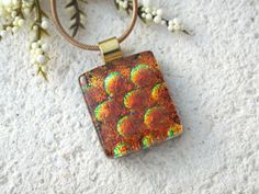 Petite Copper Golden Necklace Dichroic Glass Jewelry by ccvalenzo