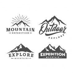 Set of mountain logo - William Steffey - Set of mountain logo Set of mountain logo - Website Design Inspiration, Packaging Design Inspiration, Logo Inspiration, Mountain Logos, Mountain Designs, Graphic Design Typography, Graphic Design Illustration, Berg Logos, Outdoor Logos