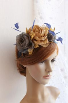 142bbdf7 Navy blue and gold floral headdress, Fashion headpiece, Fascinator headband  with feathers, Party