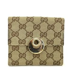 0cdbad588d9 Auth GUCCI GG Logo Pattern Beige Canvas Leather Bifold Wallet  ee268   fashion  clothing