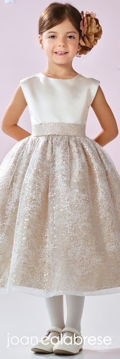 e3638bcd7a03 Satin Sequined A-Line First Communion Flower Girl Dress- 117351