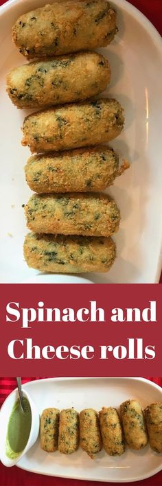 Spinach and cheese rolls Indian Appetizers, Indian Snacks, Appetizers For Party, Party Snacks, Veg Recipes, Indian Food Recipes, Vegetarian Recipes, Cooking Recipes, Recipies