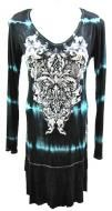 Polyester spandex dress with black and turquoise tye dye and crystal accents