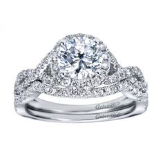 Round Diamond Engagement Rings : Contemporary Halo Engagement Ring Setting