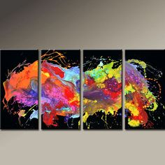 Abstract Canvas Art Painting 4pc 72x36 Contemporary by wostudios, $399.00