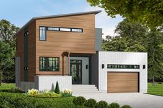 A combination of flat and shed roofs give a contemporary look to this Modern house plan.The sunken foyer is just two steps away from the main living area.Once past the study, the living area opens up into a huge great room that combines kitchen, dining and living space.Built-ins flank each side of the big fireplace that warms the whole area.Upstairs, the large master suite faces front with the two family bedrooms in back.The laundry closet serves all three bedrooms.