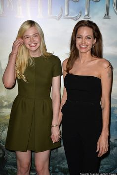 Elle Fanning and Angelina Jolie. So cute!!