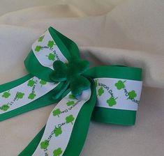 Shamrock Hair Bow Boutique Handmade Clip Green Polka Dot KISS Me I'm Irish